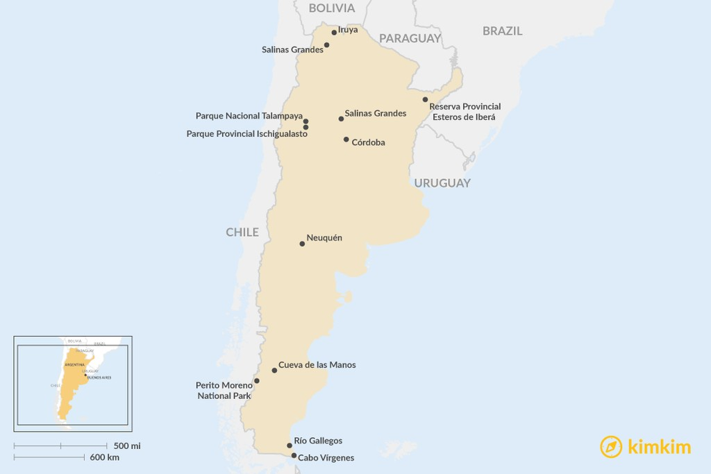 Map of Going Off The Beaten Path in Argentina