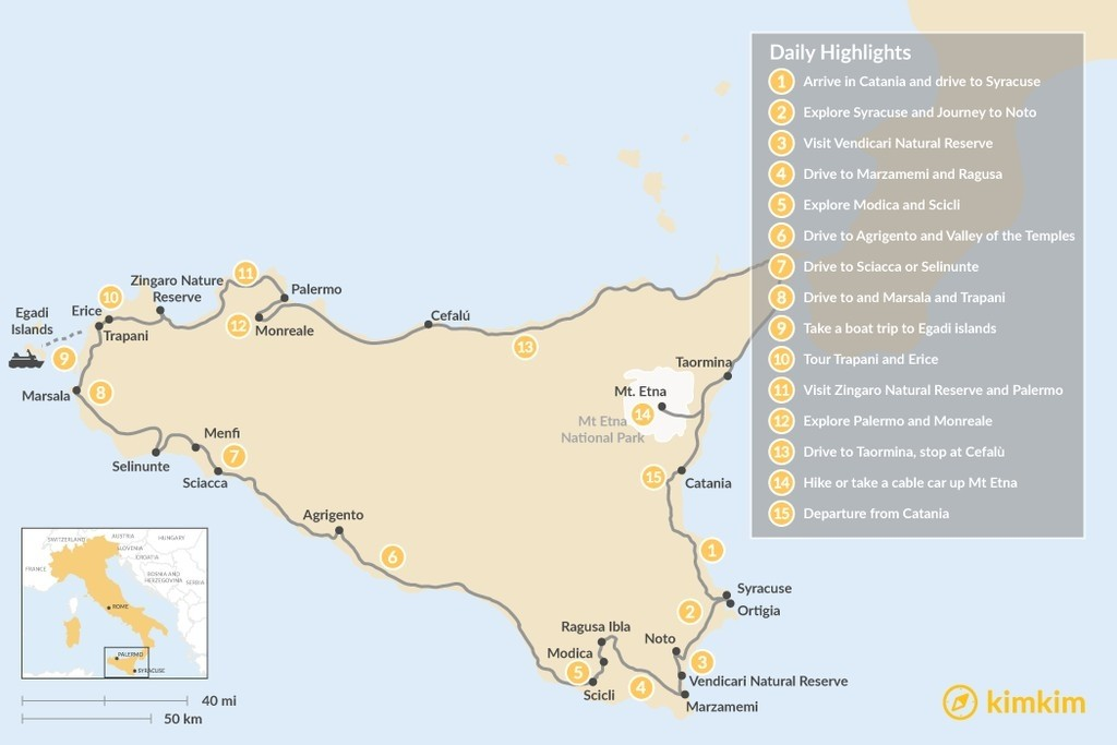 Map of Road Trip Around the Scenic Sicilian Coast - 15 Days