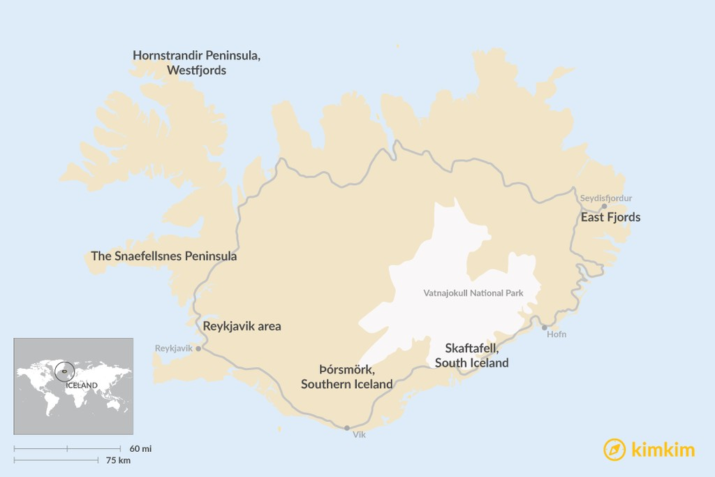 Map of Iceland's Best Hiking Regions