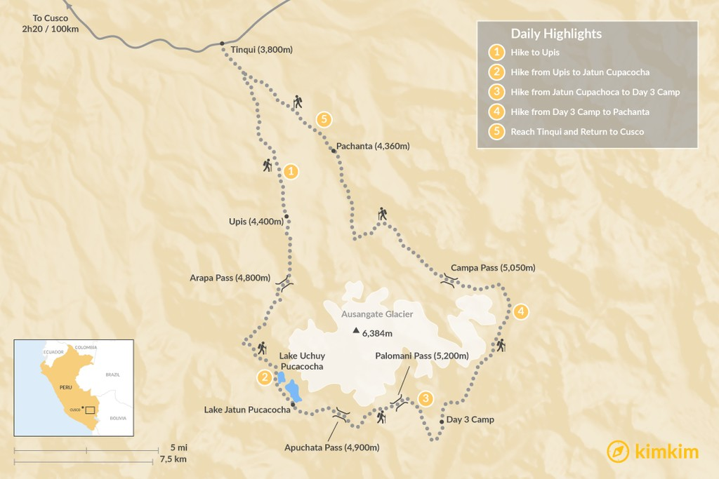 Map of Ausangate Camping Trek