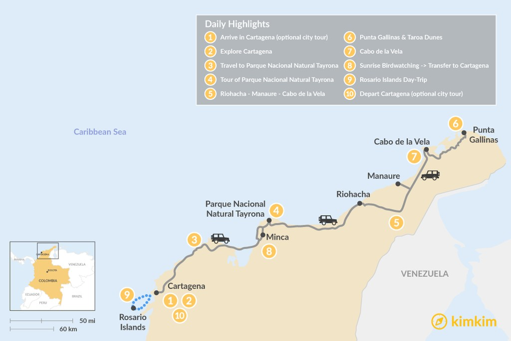 Map of Cartagena & the Caribbean Coast - 10 Days