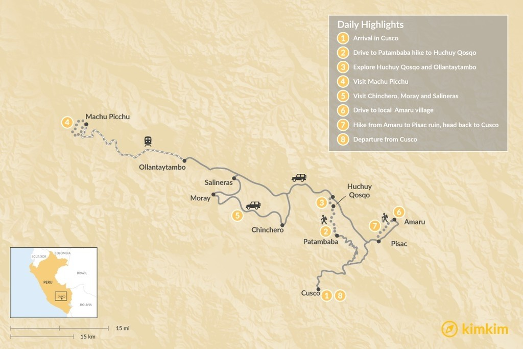 Map of Sacred Valley Hiking and Homestay - 8 Days