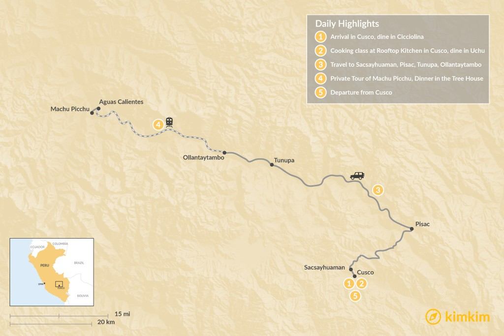 Map of Sacred Valley Cuisine Tour - 6 Days
