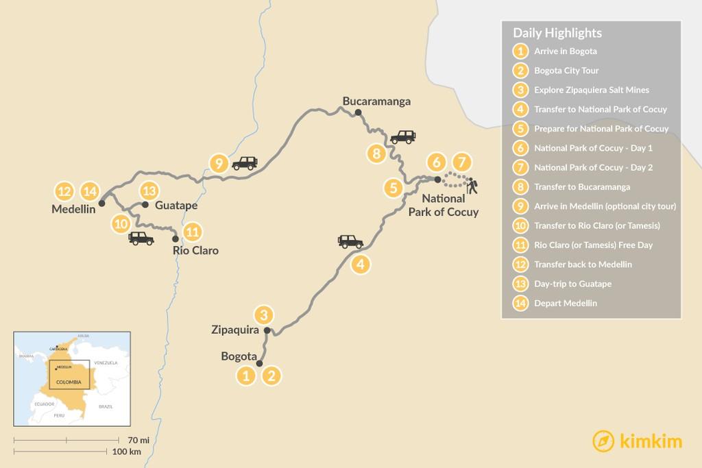 Map of Bogotá, Medellín & El Cocuy - 14 Days