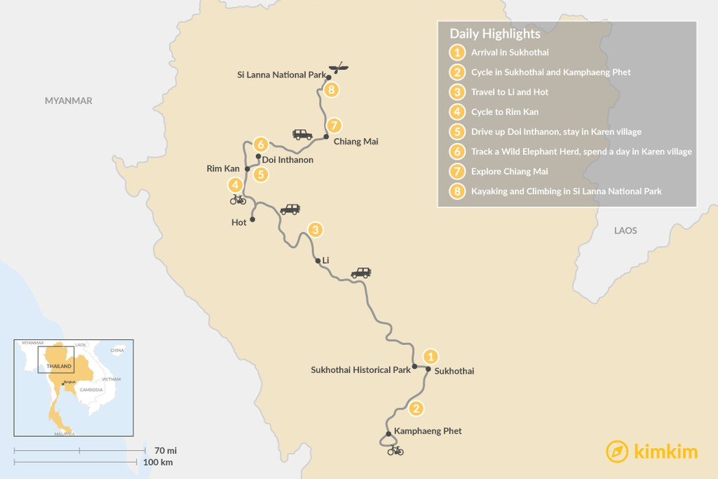 Map of A Taste of Culture in Northern Thailand - 8 Days