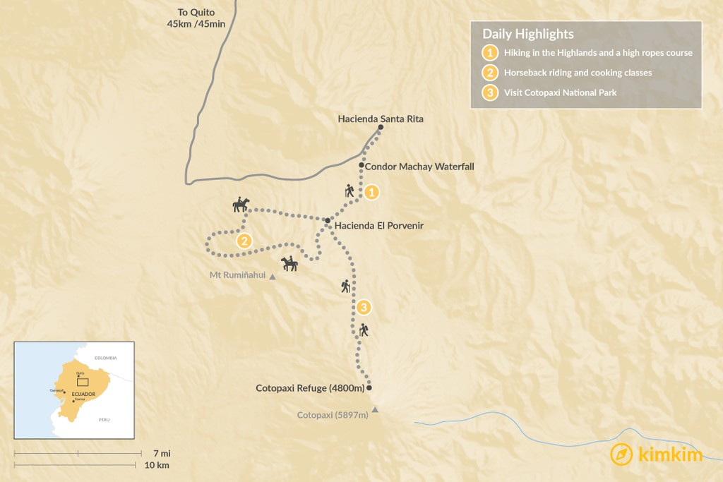Map of Multi-Adventure in the Ecuadorian Highlands - 3 Days