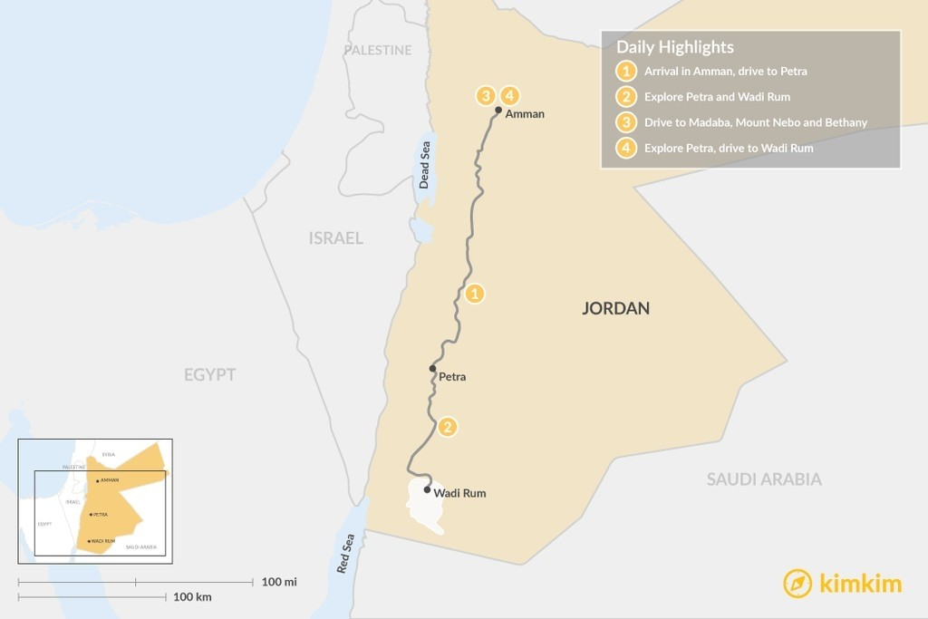 Map of Jordan: Amman, Petra and Wadi Rum - 4 Days