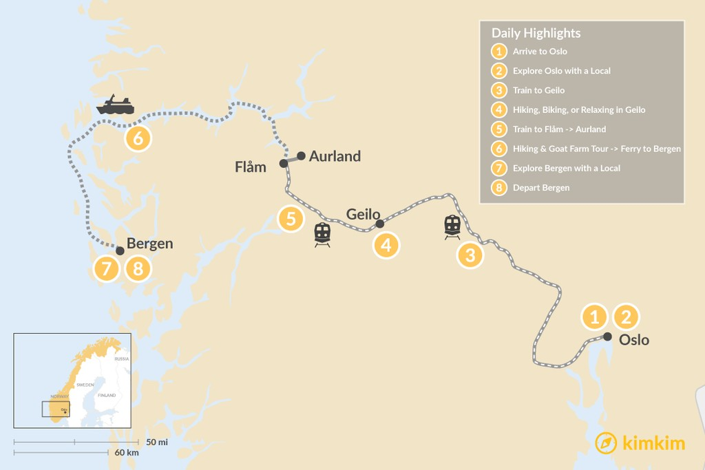 Map of Norwegian City, Mountain & Fjord Adventure - 8 Days