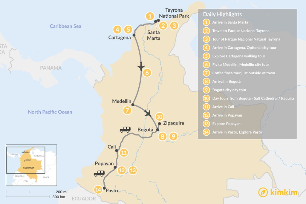 Map of Journey Across Colombia: North to South - 14 Days