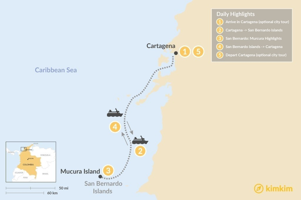 Map of Cartagena & the San Bernardo Islands - 5 Days