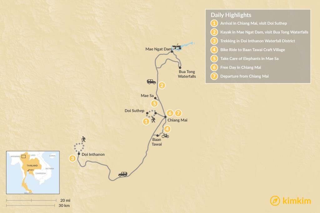 Map of Family Adventure in Chiang Mai - 7 Days