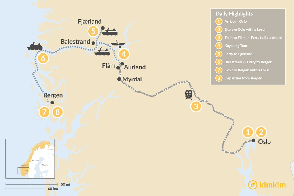 Map of Norwegian Highlights: Oslo, Bergen & the Sognefjord - 8 Days