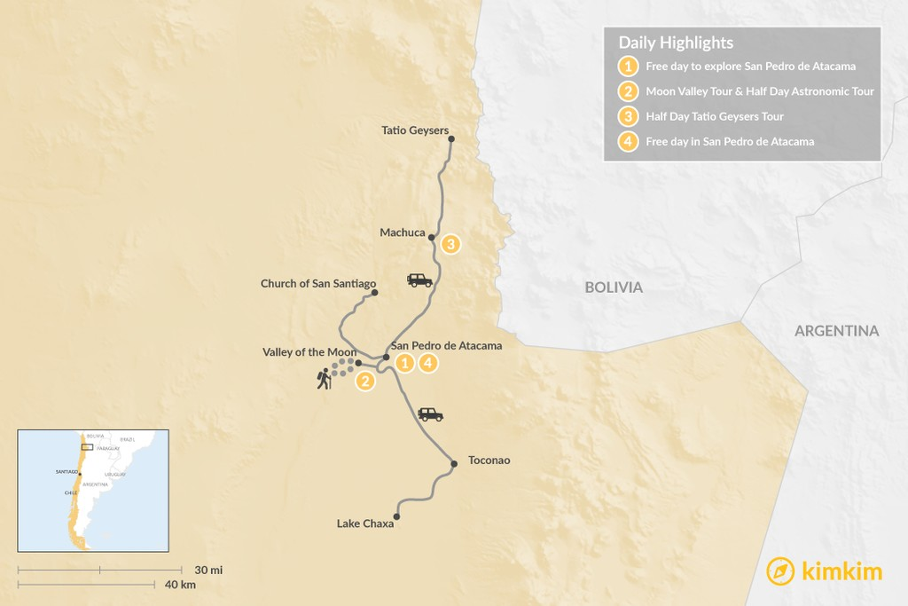 Map of Explore the Atacama Desert  -  4 Days