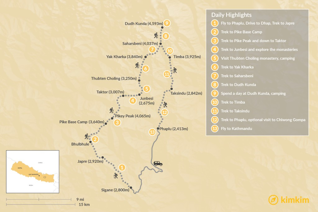 Map of Dudh Kunda Trek: Experience Sherpa Culture off-the-beaten-path - 15 Days
