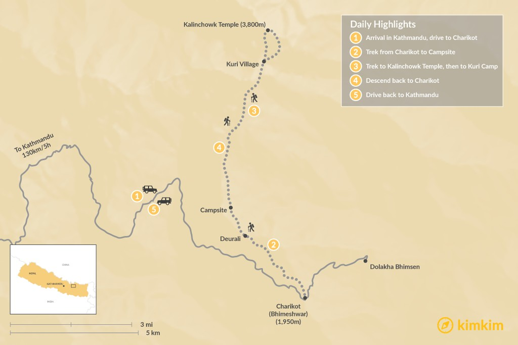 Map of Kalinchowk Temple Trek - 7 Days