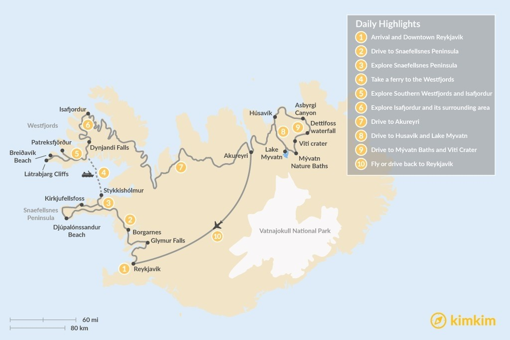 Map of Iceland Off The Beaten Path: West and North Escape - 10 Days