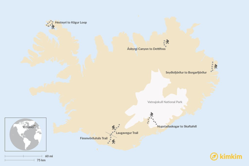 Map of The Best Multi-Day Treks in Iceland