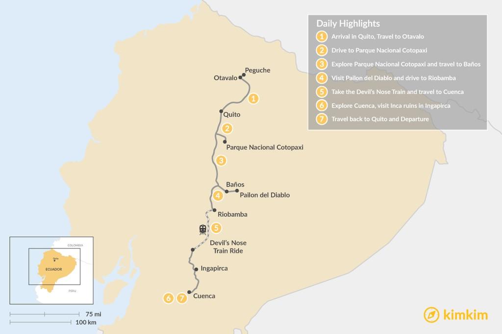 Map of Best of the Ecuadorian Highlands - 7 Days