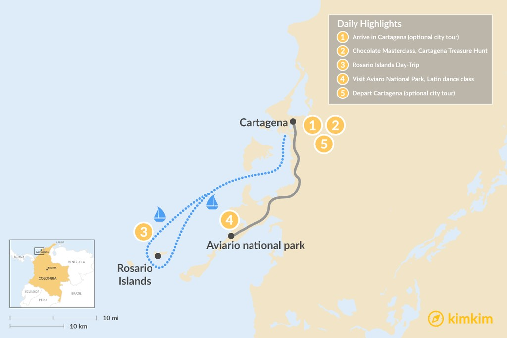 Map of Cartagena Family Adventure - 5 Days