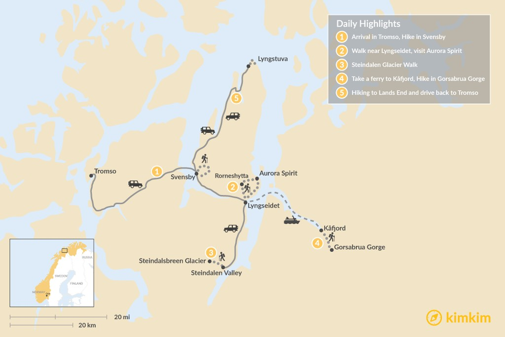 Map of Guided Day Hiking in Northern Norway: 5 Days