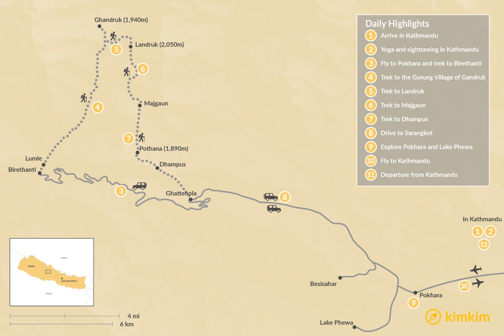 Map of Annapurna Yoga & Luxury Trek - 11 Days