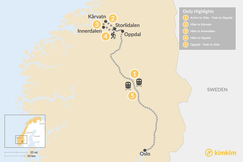 Map of Ultimate Guided Trollheimen Trek - 5 Days