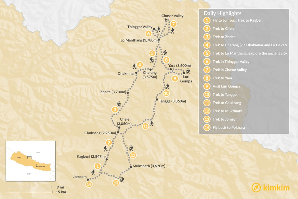 Map of Upper Mustang Trek - 15 Days
