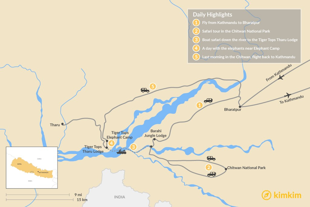 Map of Best of Chitwan - 8 Days