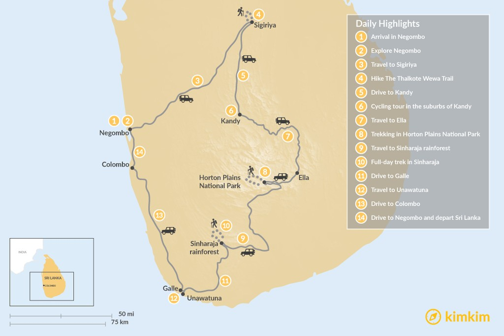 Map of Authentic Encounters & Adventures in Sri Lanka: 14 Days