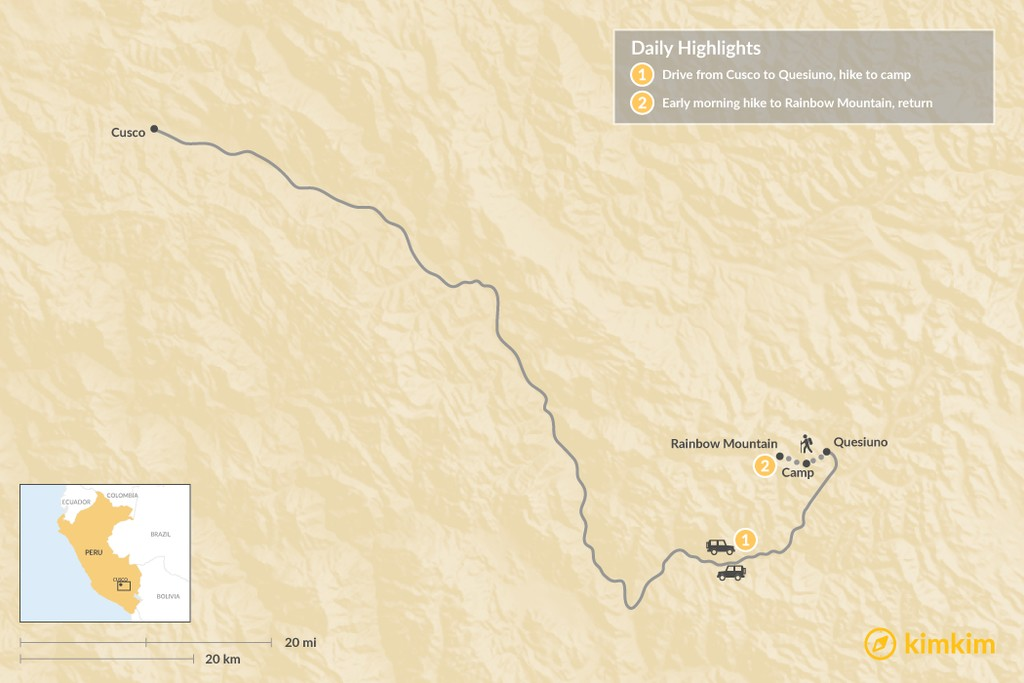 Map of Rainbow Mountain Trek - 2 Days