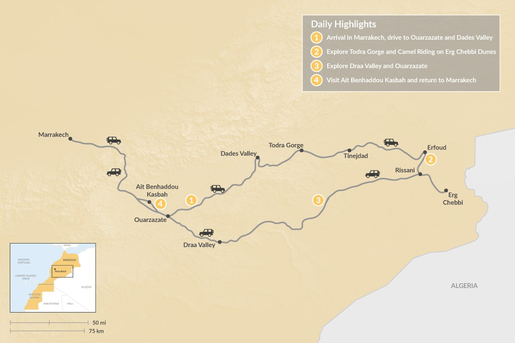 Map of A Moroccan Desert Adventure - 4 Days