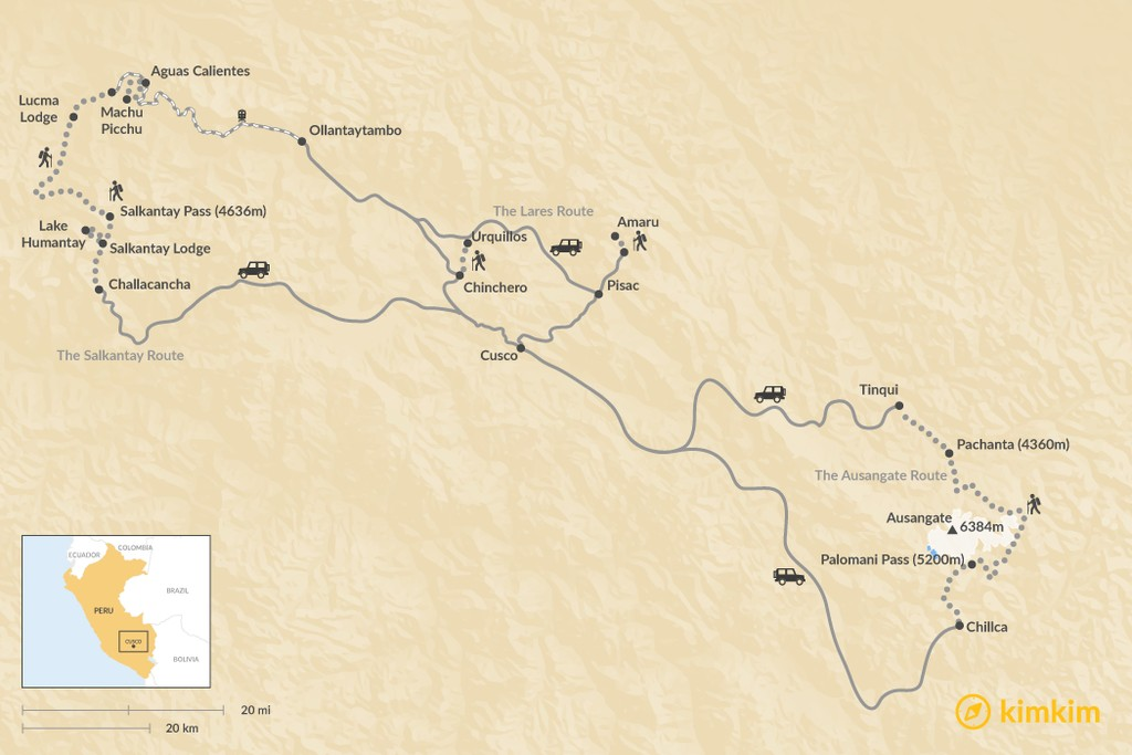 Map of Lodge-to-Lodge Trekking in Peru