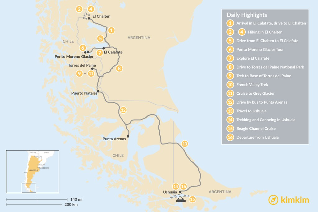 Map of Hiking in Southern Patagonia & Tierra del Fuego - 16 Days