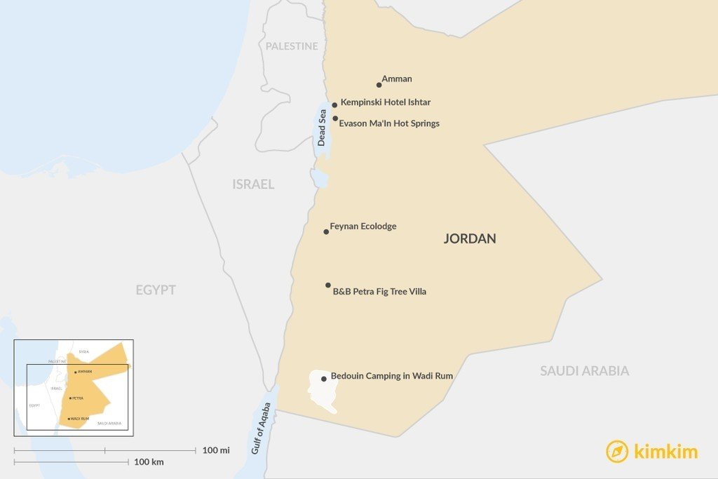 Map of Beyond Hotels: Unique Places to Stay in Jordan