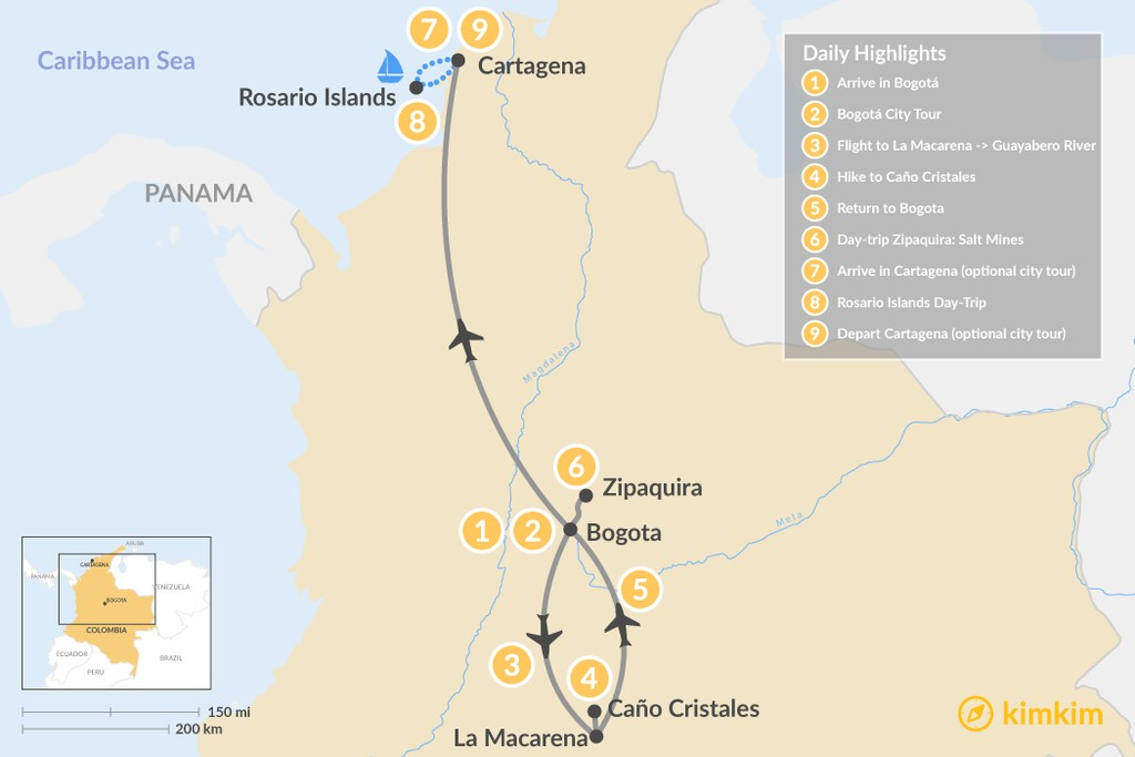 Map of Bogotá, Caño Cristales & Cartagena - 9 Days