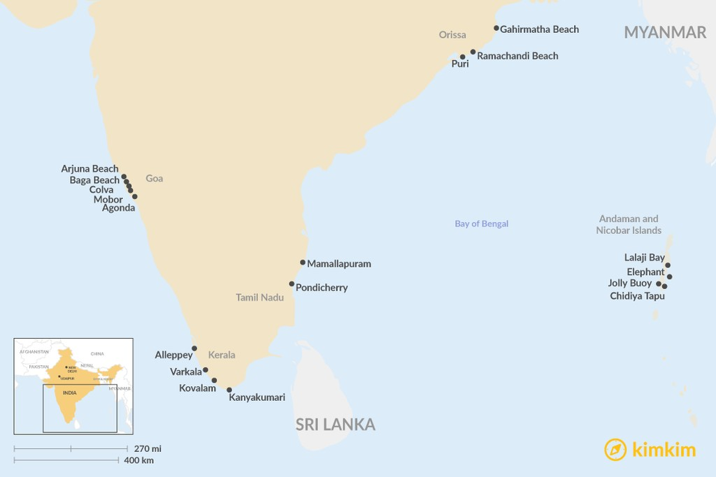 Map of Best Beaches in India