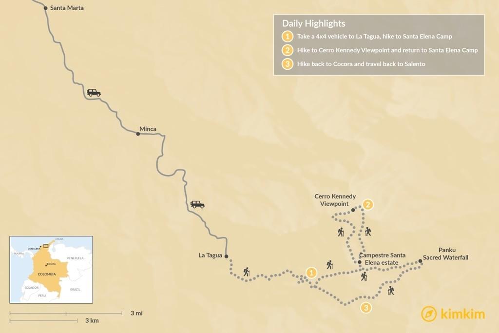 Map of Cerro Kennedy - 3 Days