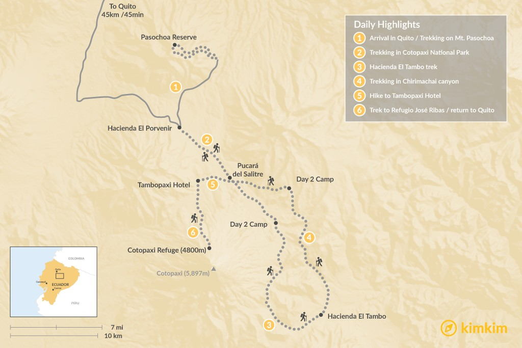 Map of Ecuador Volcano Trek - 6 Days