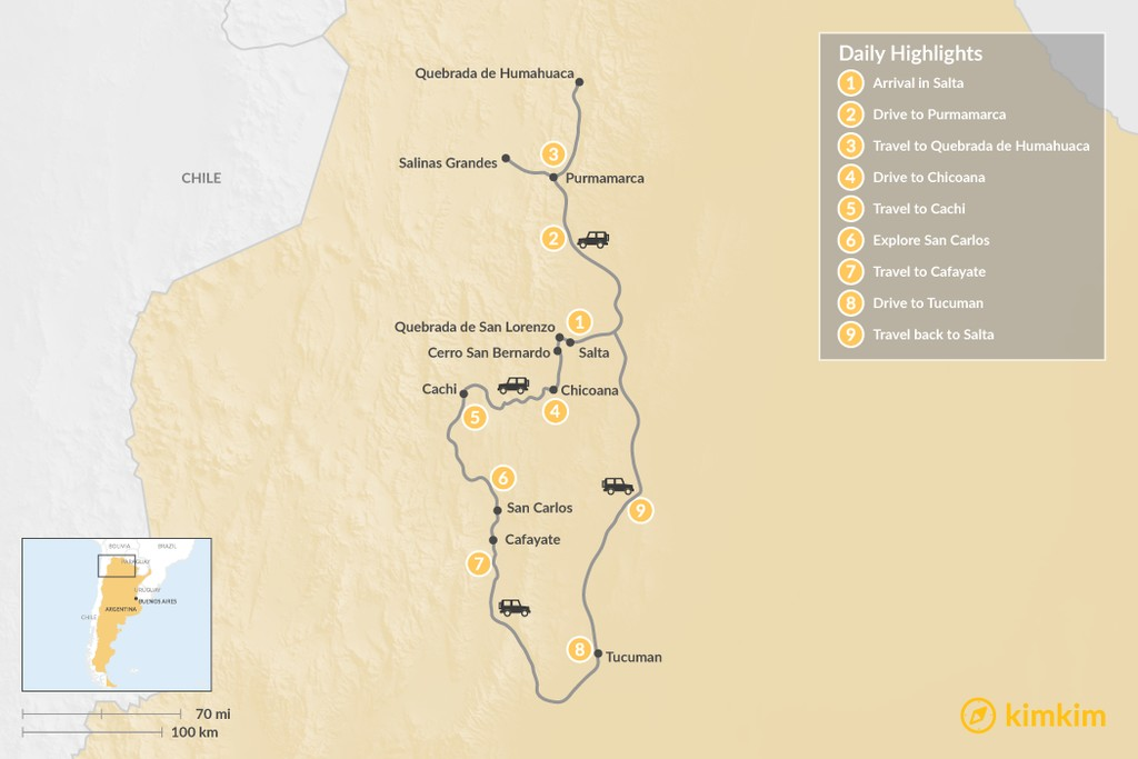 Map of Explore Northern Argentina - 11 Days