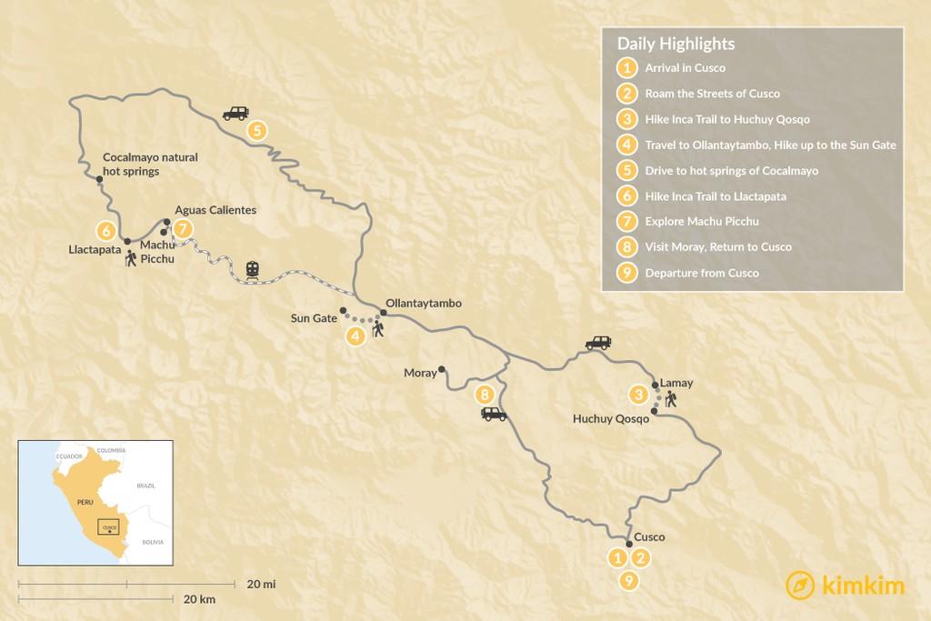 Map of Inca Trail to Huchuy Qosqo & Llactapata with Machu Picchu - 10 Days