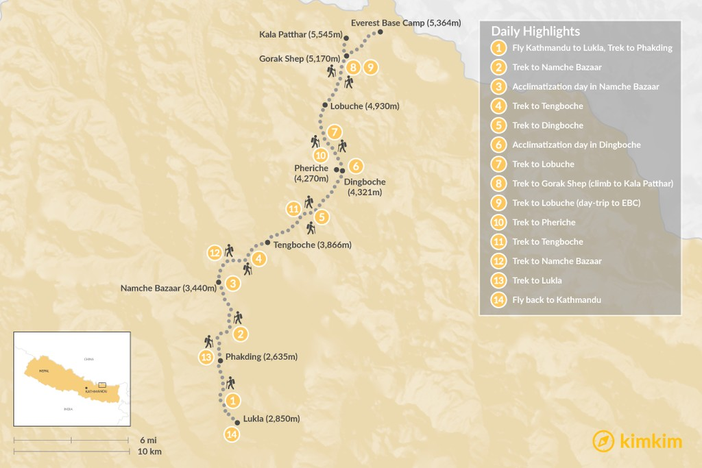 Map of Everest Base Camp Trek - 16 Days