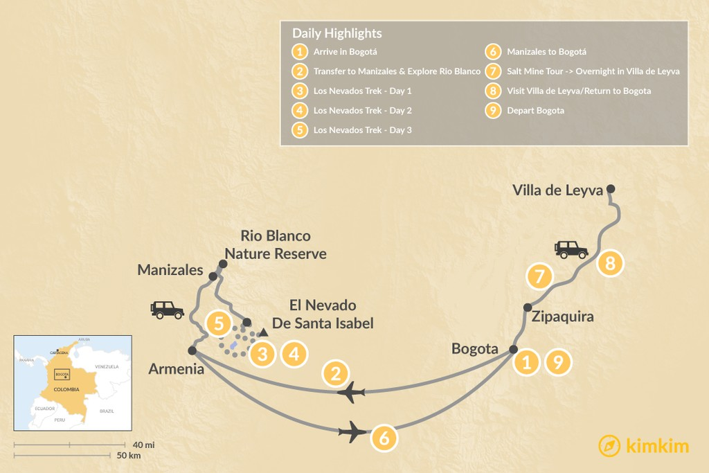 Map of Colombian Highlands & the Los Nevados Trek - 9 Days