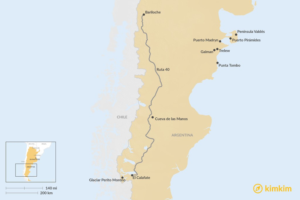 Map of Top 9 Highlights of Patagonia