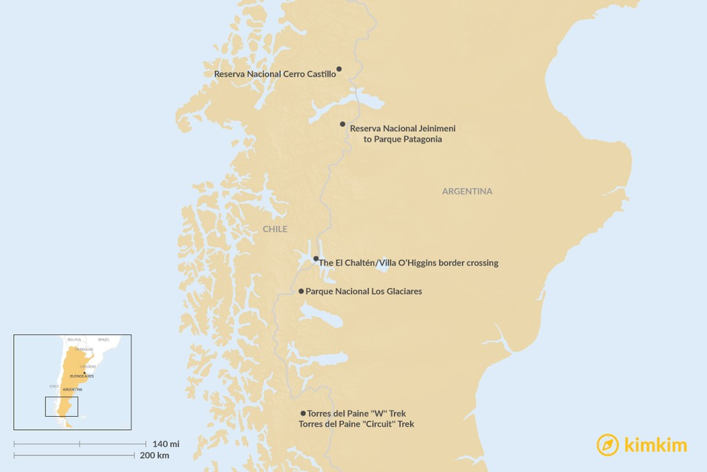 Map of Best Treks in Patagonia