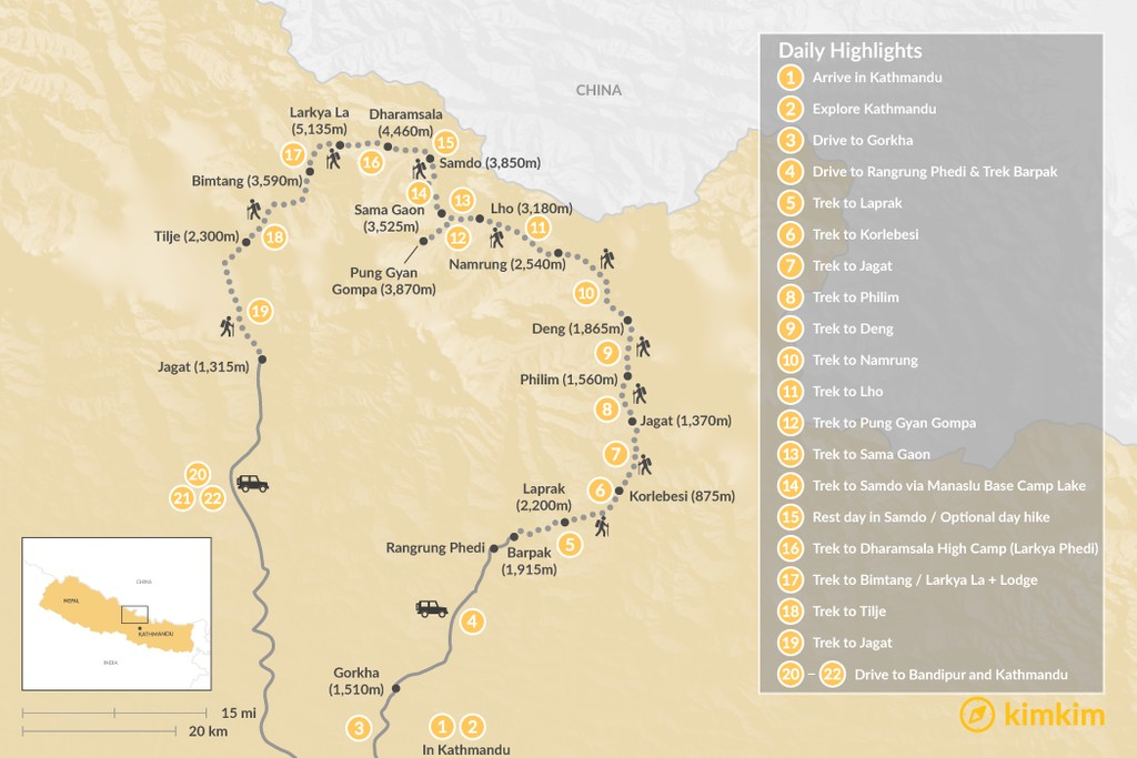 Map of Manaslu Circuit Boutique Camping Trek - 22 Days