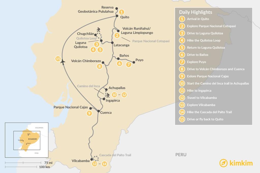 Map of Ecuador Hiking Adventure - 15 Days