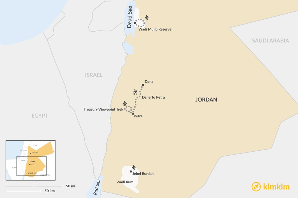 Map of Four Classic Treks in Jordan