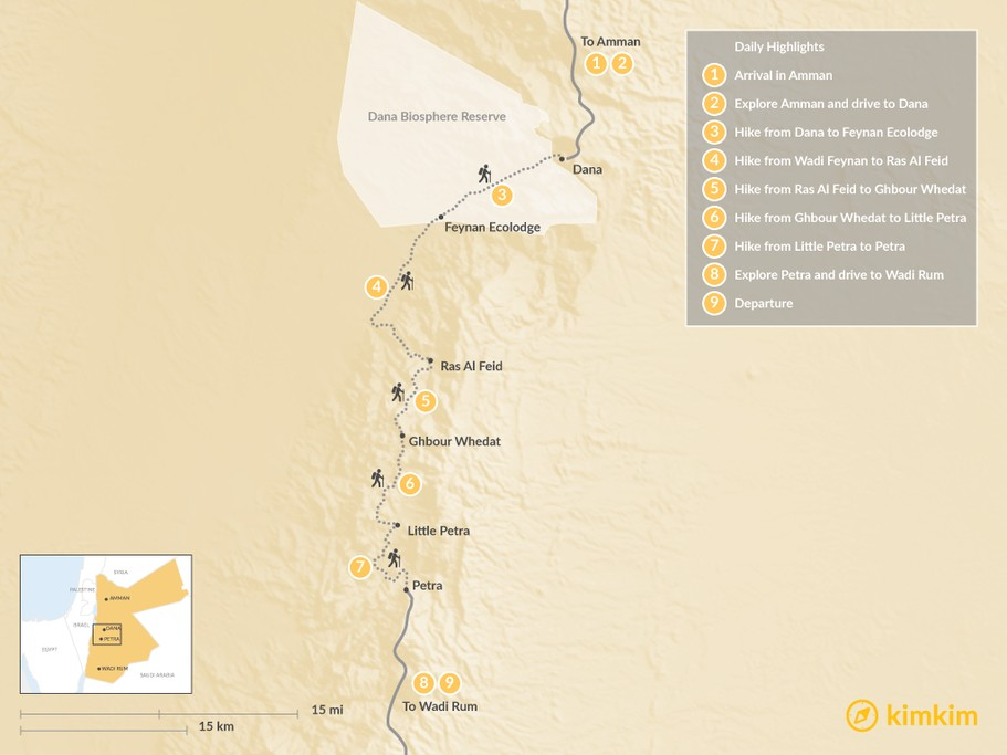 Map of Dana to Petra Trek - 9 Days