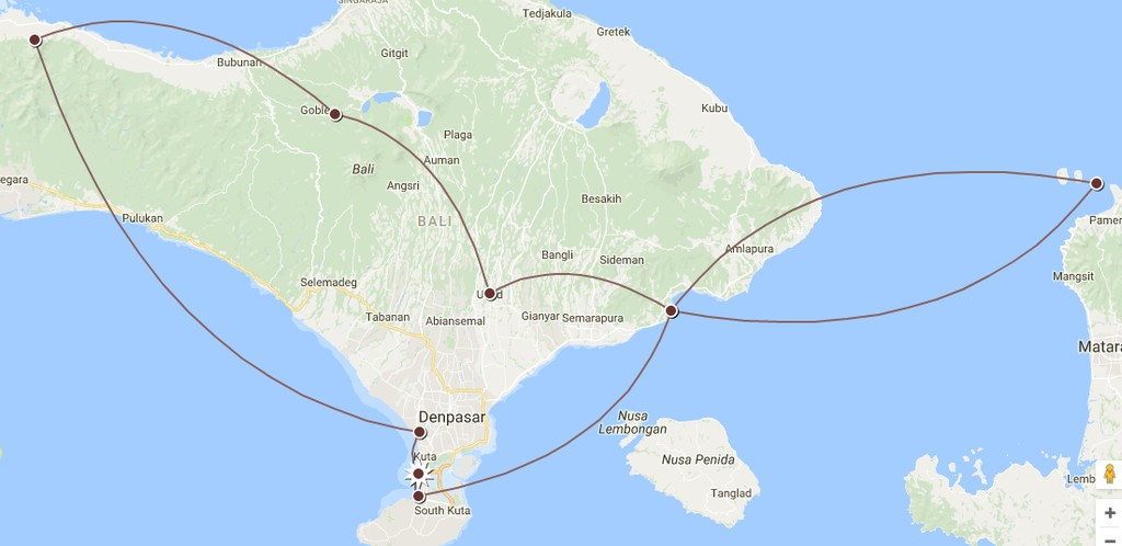 Map of Active Honeymoon in Bali - 14 Days