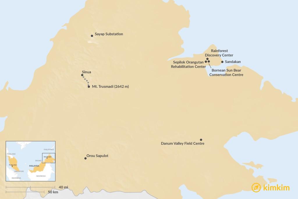 Map of Unique Places to Visit in Sabah, Borneo